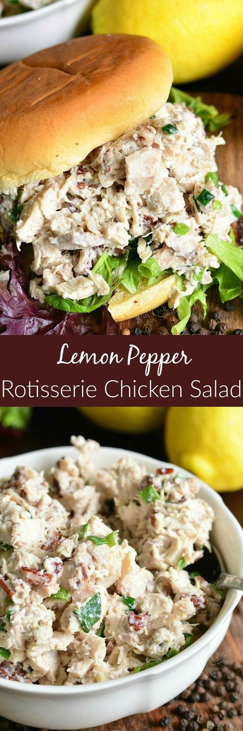 Lemon Pepper Rotisserie Chicken Salad. Delicious and tender chicken salad made with a pop of pecans, lemon pepper seasoning, green onions and lemon! #chickensalad #chicken #rotisserie