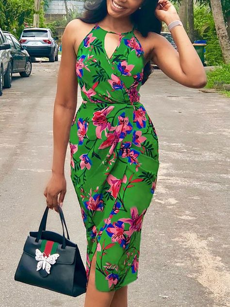 Floral Print Cut Out Halter Ruched Wrap Dress