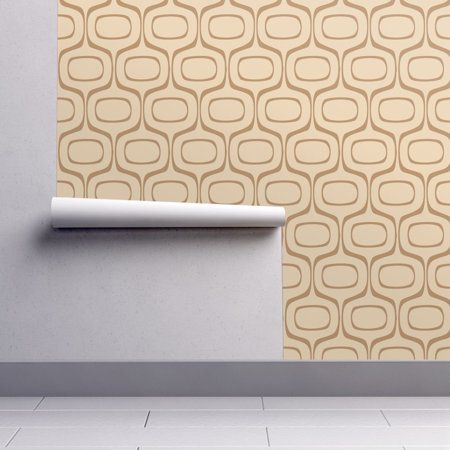 Peel And Stick Removable Wallpaper Mid Century Modern Retro Ogee Abstract Walmart Com Removable Wallpaper Modern Retro Spoonflower Wallpaper