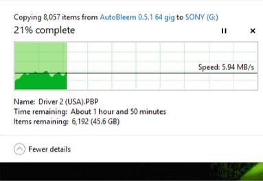 Copying to a 64gb usb drive an autobleem build with a tonne