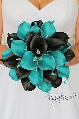 Teal And Black Wedding Bouquet With Calla Lilies Simple Black Wedding Flowers Calla Lily Wedding Lily Bouquet Wedding