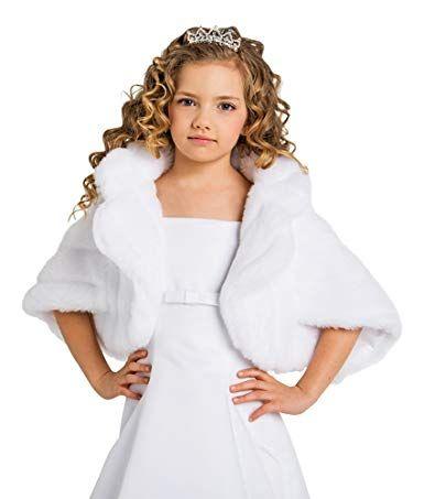 Lacey Bell Girls Communion Flower Girl Soft Faux Fur Wrap Shawl CJ80