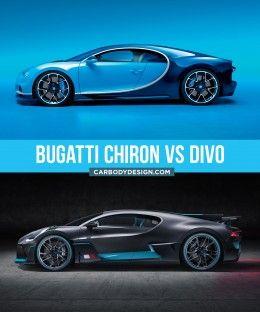 Bugatti Chiron Vs Bugatti Divo Design Comparison Side View Bilar