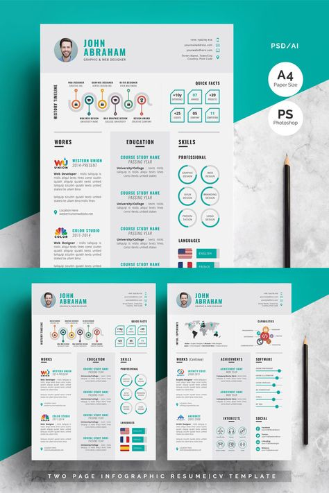 Modern-Infographic Resume Template, #Ad #Infographic #Modern #Template #Resume