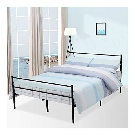 Queen Size Metal Bed Frame Platform Foundation Headboard Bedroom 6