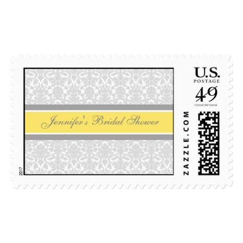 Lemon Damask Bridal Shower Wedding Stamps   Zazzle com