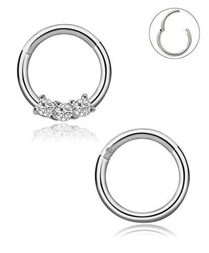 dd178ee3b54b0 YOVORO 16G 2PCS 316L Stainless Steel Nose Rings Hoop Septum Clicker ...