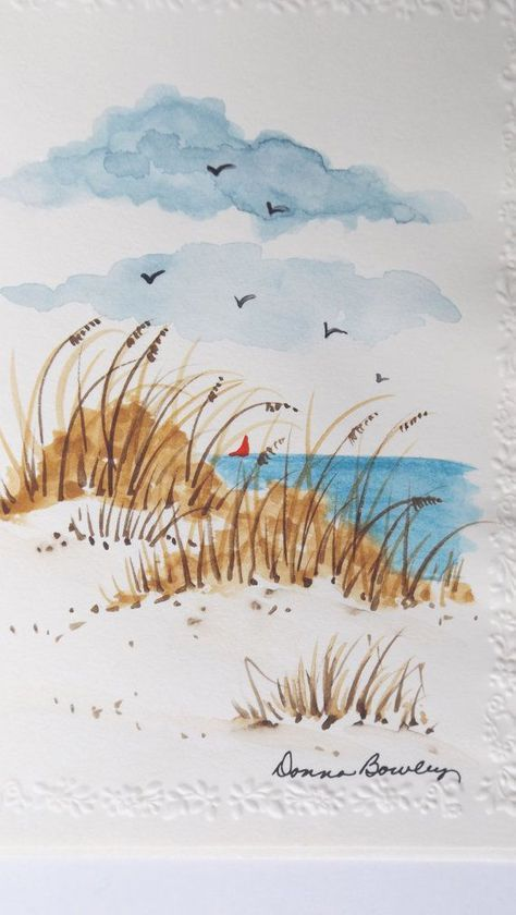 Walk Along the Beach with me by greenchairpress on Etsy #watercolorarts (watercolor sea)