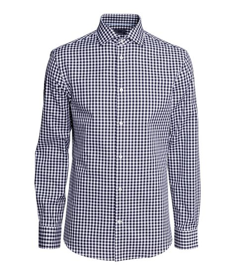 Slim-fit blue & white checked shirt with jacquard-weave premium cotton fabric and cutaway collar. | H&M Men's Classics