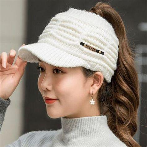 Knit visor messy Bun cap for women winter fleece ponytail beanie hat ... b4f620c8742