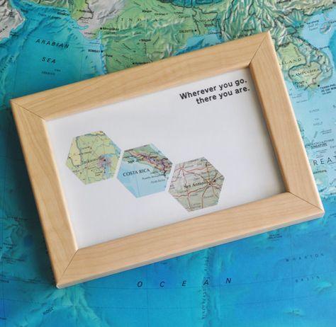 Gift for Him Traveler Map Art Custom Framed Geometric Hexagon Recycled Maps