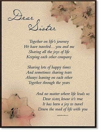 Thoughts about a sister | Sister poems, Sister quotes, Dear ...