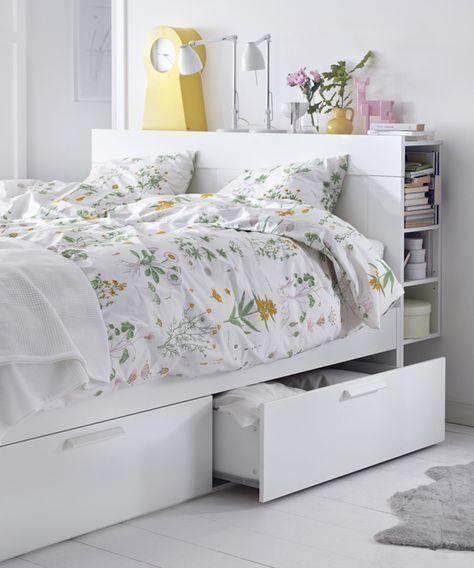 Brimnes Bed Frame With Storage Headboard White Lonset Queen