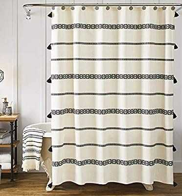 Amazon Com Yokii Tassel Fabric Shower Curtain Black And Beige