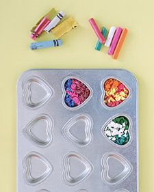 Melt crayons (Can use regular tins - Just pop in freezer if stick)