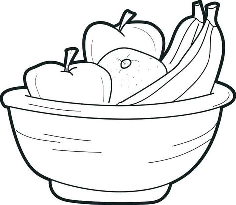 Fruit Basket Coloring Page Fruit Basket Coloring Pages Food Bowl