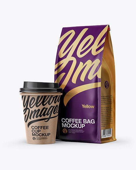 Download Matte Bag With Kraft Coffee Cup Mockup Half Side View In Packaging Mockups On Yellow Images Object Mockups Mockup Free Psd Mockup Free Download Mockup