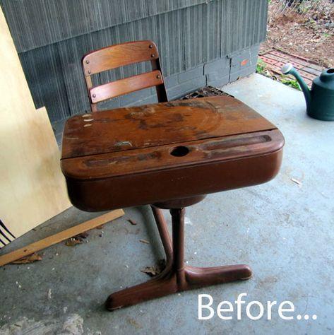 vintage desk, school, refinish
