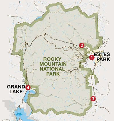 Map of entrances to Rocky Mountain National Park | Traveling ...