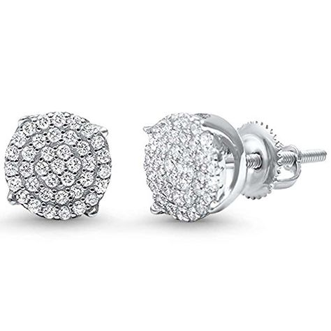 522dff69d Hip Hop Stud Earrings Men Women Unisex 925 Sterling Silver Round Pave Ice  Cubic Zirconia Screw Back 8mm *** Check out this great product.