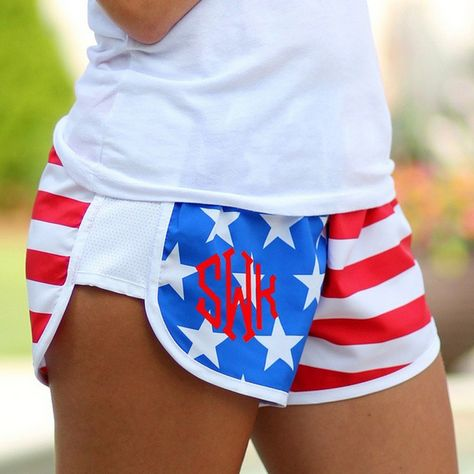 SUMMER is here! Marleylilly.com Monogrammed Shorts for the patriotic prepster! Preview your monogram online! #america