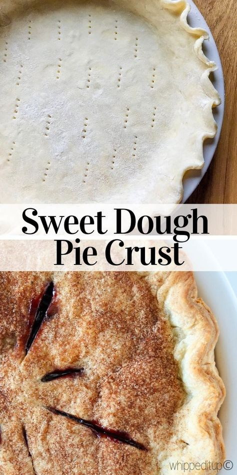 This Sweet Dough Pie Crust is the butteriest, flakiest, and the softest pie crust I have ever tasted. Mini Pie Crust, Flakey Pie Crust, Pie Crust Uses, Pie Crust Dough, Homemade Pie Crusts, Pie Crust Recipes, Pastry Recipes, Sweet Potato Pie Crust Recipe, Easy Sweet Dough Recipe