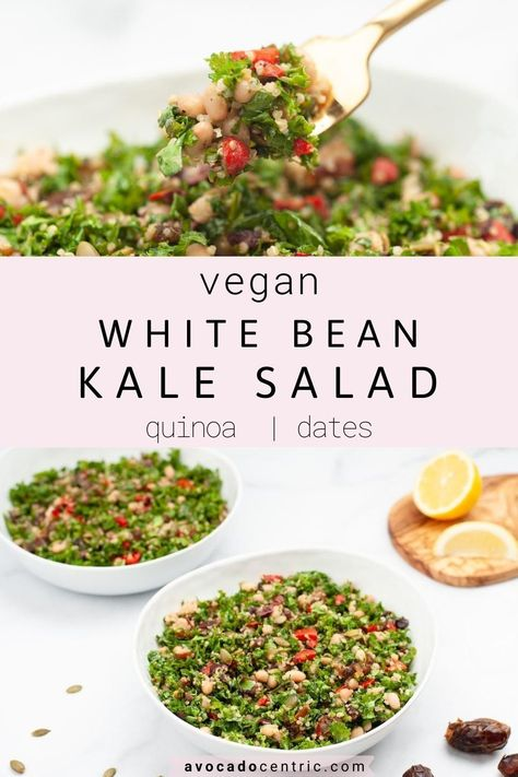 This vegan white bean kale salad is healthy, simple, and also so easy to make! In addition, it's gluten free, customizable, and made with quinoa and dates! It is also made with simple light and refreshing lemon dressing for summer but full of flavor. It comes together quickly so it's perfect for a healthy lunch. You can customize and add sweet potato or use baby kale if you like. You can also use chickpeas instead of white beans for a change! #kalesalad #healthy #vegan #easy #whitebeansalad