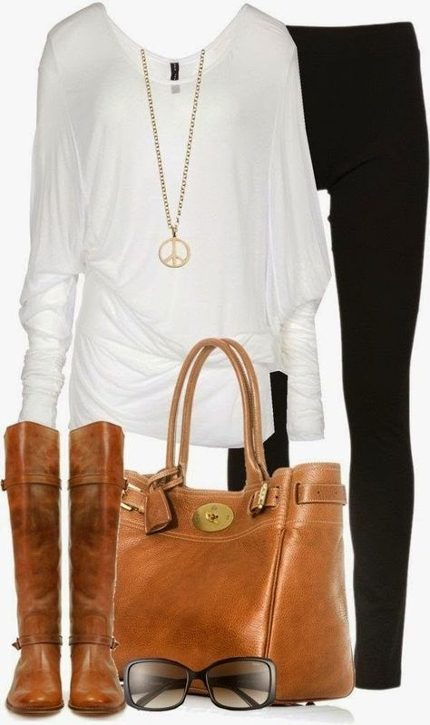 Long sleeved classic white blouse with skinny jeans & matching leather purse and tan tall boots