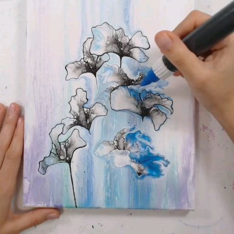 Acrylic pouring, fluid art, painting, DIY, painting inspiration, artist, creative, fine liner, illustration