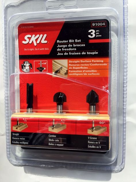 Skil 91004 Router Bit Set 1 4 Straight 1 2 Corebox 90 Vgroove Carbide Tip 3pc Skil Router Bits Router Bit Set Router