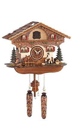 Trenkle Quartz Cuckoo Clock Black Forest House With Moving Wood