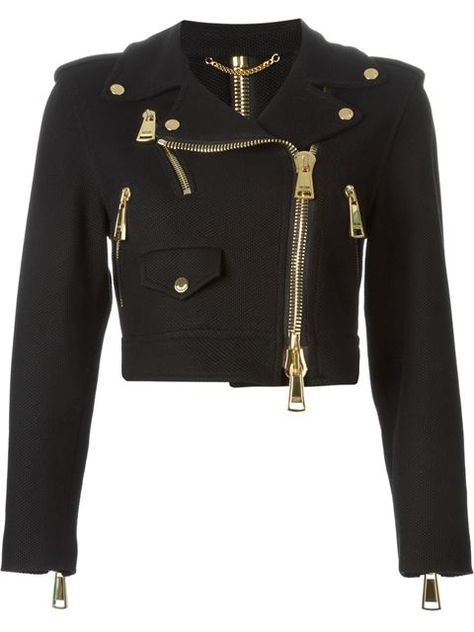 Shop Moschino cropped biker jacket in Nida from the worlds best independent bou Teen Fashion Outfits, Stage Outfits, Edgy Outfits, Cute Casual Outfits, Grunge Outfits, Mode Outfits, Girl Outfits, Punk Fashion, Lolita Fashion