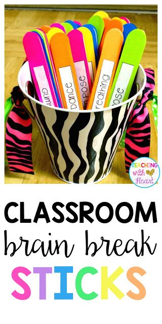 Need a Little {Brain Break}! Don't have an interactive white board? No problem! These DIY brain break sticks are the perfect solution. Let a student choose a stick, and have fun doing the action listed on it! Miss Kindergarten, Kindergarten Classroom, Classroom Activities, Classroom Organization, Classroom Management, Brain Breaks For Kindergarten, Classroom Ideas, Behavior Management, Classroom Behavior