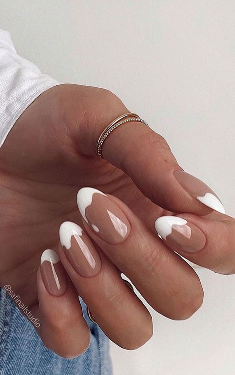 White Tip Nails, French Tip Nails, Short French Nails, White Nails With Design, Nails French Design, Long Oval Nails, Pink Tip Nails, Short Oval Nails, White French Nails