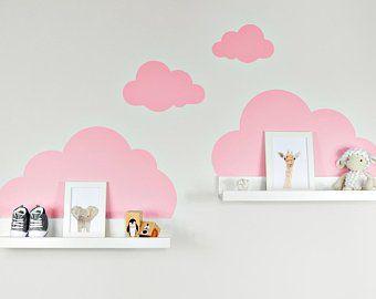 Wall Decal Clouds White With Eyes For Ikea Shelf Ribba Mosslanda 55 Cm Picture Bar For Baby Room Nursery Decal Wall Wallpaper Wandtattoo Wolken Wandsticker Kinderzimmer Wandtattoo