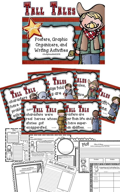 "Tall Tales posters, graphic organizers, and writing activities.  Perfect addition to use with any tall tale book and/or unit!  Look what buyers are saying, ""LOVE LOVE LOVE this!!! Practical and aligned to CORE...Tall Tales activities with some real meat to them!""  $"