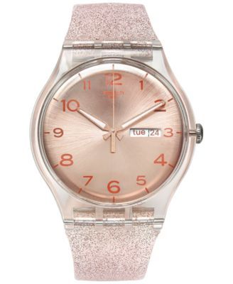 Swatch Women S Swiss Pink Glistar Pink Glitter Semi Transparent Silicone Strap Watch 41mm Suok703 Swatch Jewelry Wat Swatch Women Swatch Watch Pink Watch