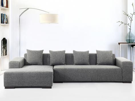 Gavino Sofa Couch Ecksofa mittelgrau B 244 cm \/ T 180 cm \/ H 83 cm - designer couch modelle komfort
