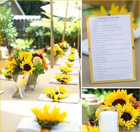 I like the sunflower and napkin arrangement