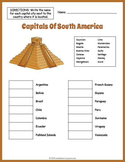 picture regarding Free Printable Geography Worksheets Middle School identify Totally free Capitals Of South The united states Geography Worksheet