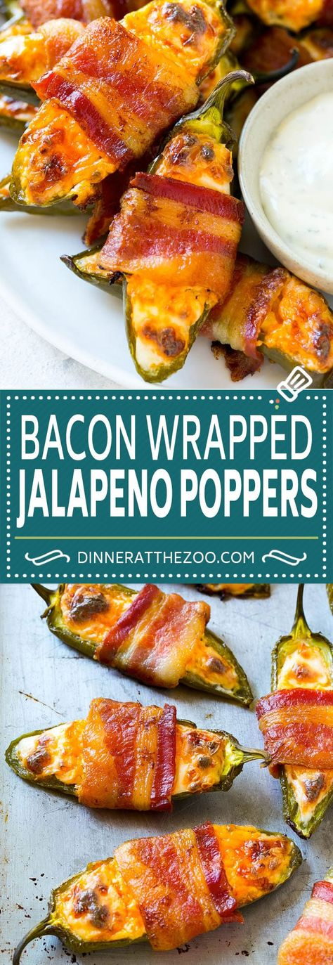 Bacon Wrapped Jalapeno Poppers Recipe - can precook bacon a little, can also cook bacon completely and crumble and add crumbles to the cream cheese mixture, can add chives, can serve with ranch dressing Bacon Wrapped Appetizers, Bacon Wrapped Jalapeno Poppers, Appetizers For Party, Appetizer Recipes, Party Snacks, Party Games, Stuffed Jalapeno Poppers, Bacon Jalapeno Poppers, Appetizer Dinner
