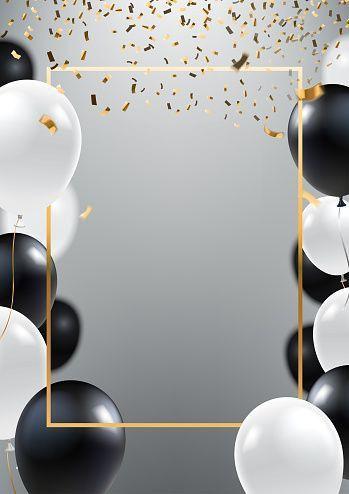 Maria Black And White Balloons Birthday Background Design White Balloons