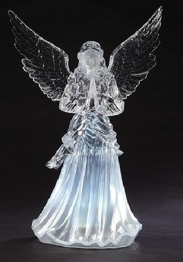 Christmas angel acrylic with LED lighting praying 22cm Winter Decoration Peace
