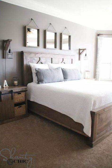Beautiful Farmhouse and Rustic Master Bedroom. Find out how Shanty 2 Chic built Beautiful Farmhouse and Rustic Master Bedroom. Find out how Shanty 2 Chic built Modern Master Bedroom, Farmhouse Master Bedroom, Bedroom Rustic, Master Bedrooms, Contemporary Bedroom, Diy Bedroom, Trendy Bedroom, Master Bedroom Decorating Ideas, Master Suite