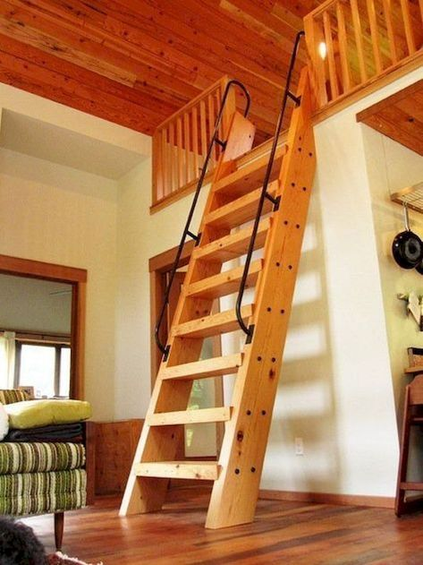 Attic Ladders Types Of Attic Stairs Ships Ladder Stairs Cabin Loft Tiny House Loft Loft Railing