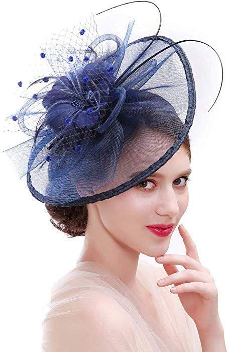 Asken Frauen Cocktail Fascinator Haar Pillbox Hut Feder Kopfschmuck Tea Party Hochzeit Kirche Headwear Navy Blau A Fascinator Kopfschmuck Kopfschmuck Hochzeit