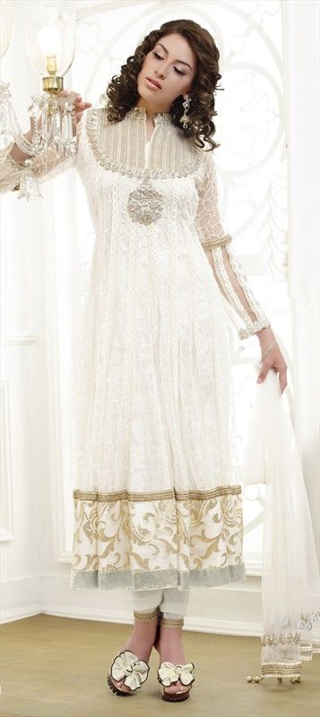 91855, Party Wear Salwar Kameez, Anarkali Suits, Salwar Kamez, Jacquard, Zardozi, Machine Embroidery, Cut Dana, Stone, White and Off White Color Family