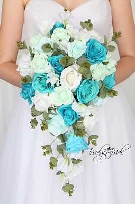 Mint Green And Teal Cascading Wedding Flower Brides Bouquet Turquoise Wedding Flowers Bridal Wedding Flowers