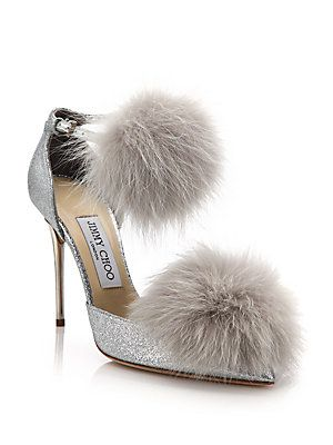 Jimmy Choo Dolly 100 Fox Fur I could see me wearing these around the house and pool with , well, never mind. (NOT) But beautiful!!