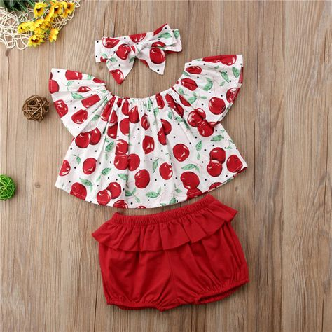 P.S. I Love You More Boutique | Cherry Top, Shorts and Headband 3 Piece Set | Trendsetting Women's Fashion Boutique Perfection! -- Spring Summer Fall Winter Fashion. www.psiloveyoumoreboutique.com